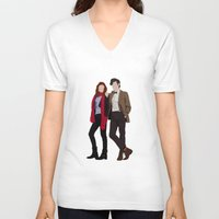 karen hallion V-neck T-shirts featuring Matt Smith as Dr Who and Karen Gillan as Amy Pond by liamgrantfoto