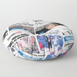 Hillary 2016 Historic Front Pages Floor Pillow