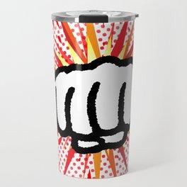 Red And Yellow Cartoon Splash Fist Punch Travel Mug