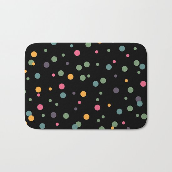 Happy Rounds on Black Bath Mat