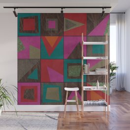 squares of colors and shreds Wall Mural