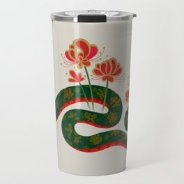 Snake and flowers Travel Mug