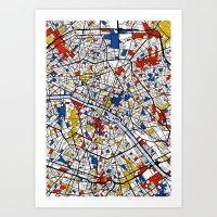 mondrian Art Prints featuring Paris Mondrian by Mondrian Maps
