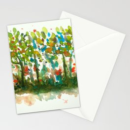Silent Woods, Abstract Watercolors Landscape Art Stationery Cards