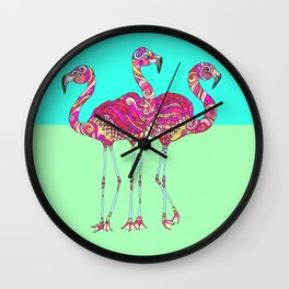 Flamingo Flamingo Flamingo Wall Clock