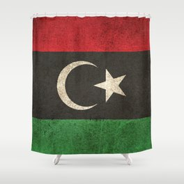 Old and Worn Distressed Vintage Flag of Libya Shower Curtain