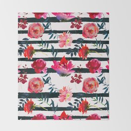 Black white pink floral watercolor stripes pattern Throw Blanket
