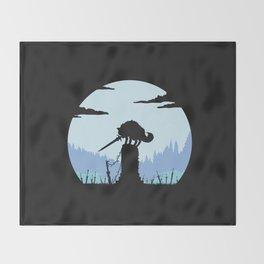 Grey Wolf Sif (Dark Souls) - in black Throw Blanket