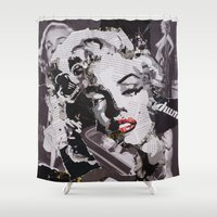 monroe Shower Curtains featuring Monroe by Ross Collins Artist