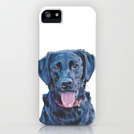 Black Lab LABRADOR RERIEVER dog portrait painting by L.A.Shepard fine art iPhone Case
