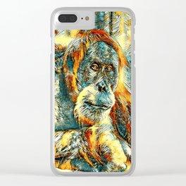 AnimalArt_OrangUtan_20180203_by_JAMColorsSpecial Clear iPhone Case