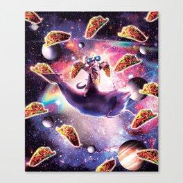 Thug Space Cat On Dolphin Unicorn - Taco Canvas Print