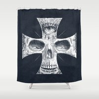 gore Shower Curtains featuring Cross Skull 2.0 by pakowacz
