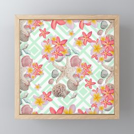 Modern tropical flowers seashells geometric design Framed Mini Art Print