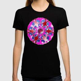 Pink Snowflake on Blue T-shirt