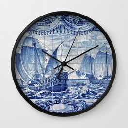Portuguese Caravelas Azulejo art Wall Clock