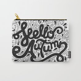 Hello Autumn handwritten lettering (black and white) Carry-All Pouch