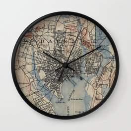 Vintage Map of New Haven Connecticut (1890) Wall Clock