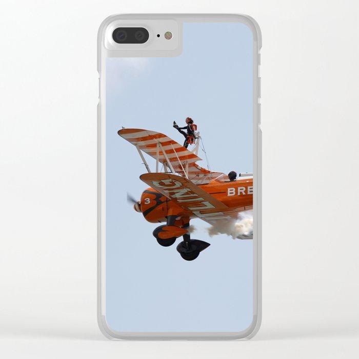 Biplane Wing Walker Clear iPhone Case