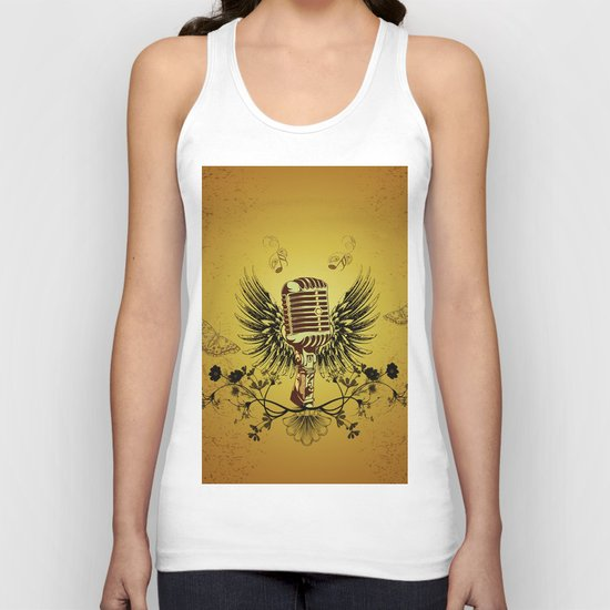 Music, microhpone  Unisex Tank Top