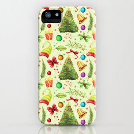 Vintage green red colorful festive Merry Christmas floral iPhone Case