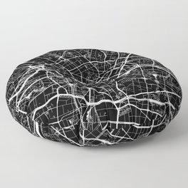 Berlin, Germany, City Map - Black Floor Pillow