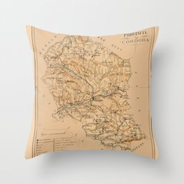 Map Of Cordoba 1800 Throw Pillow