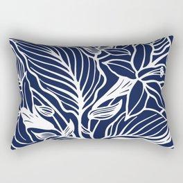 Navy Blue Floral Minimal Rectangular Pillow