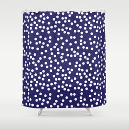 Navy Blue and White Polka Dot Pattern Shower Curtain