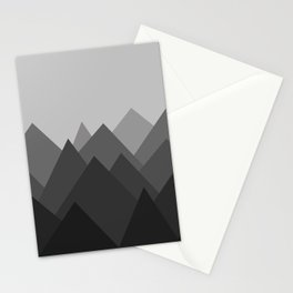Black and White Abstract Mountains Stationery Cards