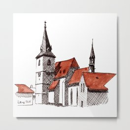 A Calm Czech Village Colored in Sienna Metal Print