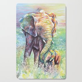 Colorful Mother Elephant and Baby Cutting Board