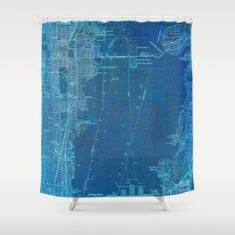 13-Miami Florida 1950, blue vintage map Shower Curtain