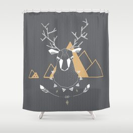 Christmas Geo Deer Gray Shower Curtain