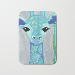 Giraffe Painting, Baby Giraffe, Blue Giraffe, Child's Room Decor, Gray Green Blue Art Bath Mat