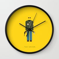 taxi driver Wall Clocks featuring Taxi Driver | Famous Costumes by Fred Birchal