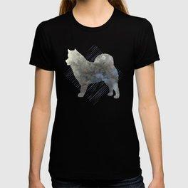 Modern Alaskan Malamute Dog Watercolor Stripes T-shirt