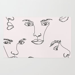 Faces one line illustration - Cyra Natural Rug