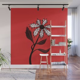 Imaginary Gothic Flower Ink Drawing Black And White On Red Wall Mural