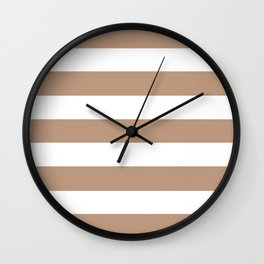 Pale taupe - solid color - white stripes pattern Wall Clock