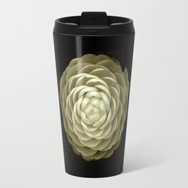 cream camelia on black background Travel Mug