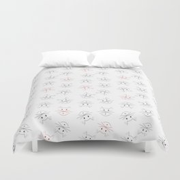 Minimalist Cat Pattern in Black and Red Duvet Cover