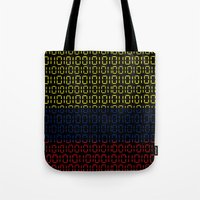 colombia Tote Bags featuring digital Flag (Colombia) by seb mcnulty