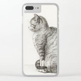 Sitting cat by Jean Bernard Clear iPhone Case