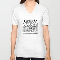 amsterdam V-neck T-shirts featuring Amsterdam by Heather Dutton