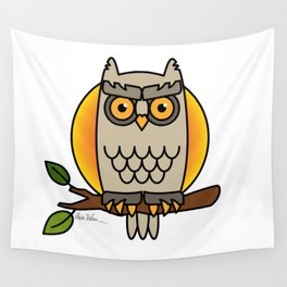 Owl in a Circle Wall Tapestry