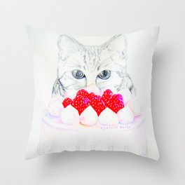 My sweet cat and my cake. Throw Pillow