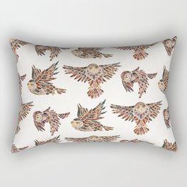 Owls in Flight – Brown Palette Rectangular Pillow