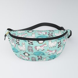 Narwhal,Unicorn, Panda, Llama, Penguin, Hippo, Animal Print For Girls Fanny Pack