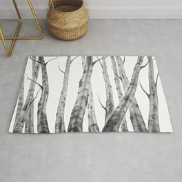 Birch Tree | Watercolour | Painting | black-and-white | Black and White | Minimalism Rug